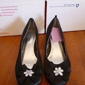 George Black Satin Shoes  Size 5